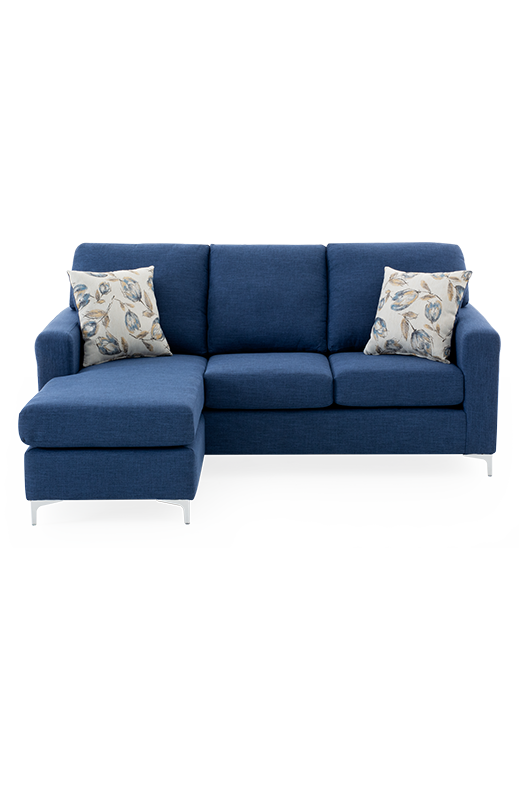 Couch pillow png. Blue upholstered reversible sectional