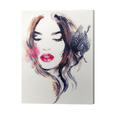 Self drawing abstract art. Woman face fashion illustration