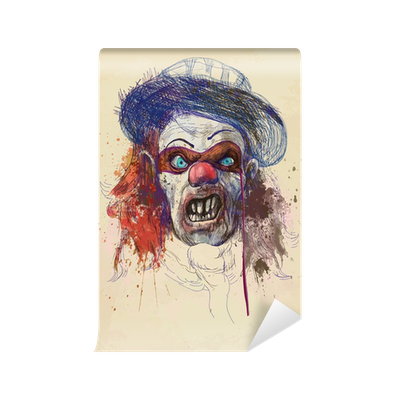Self drawing background. Scary clown old brown