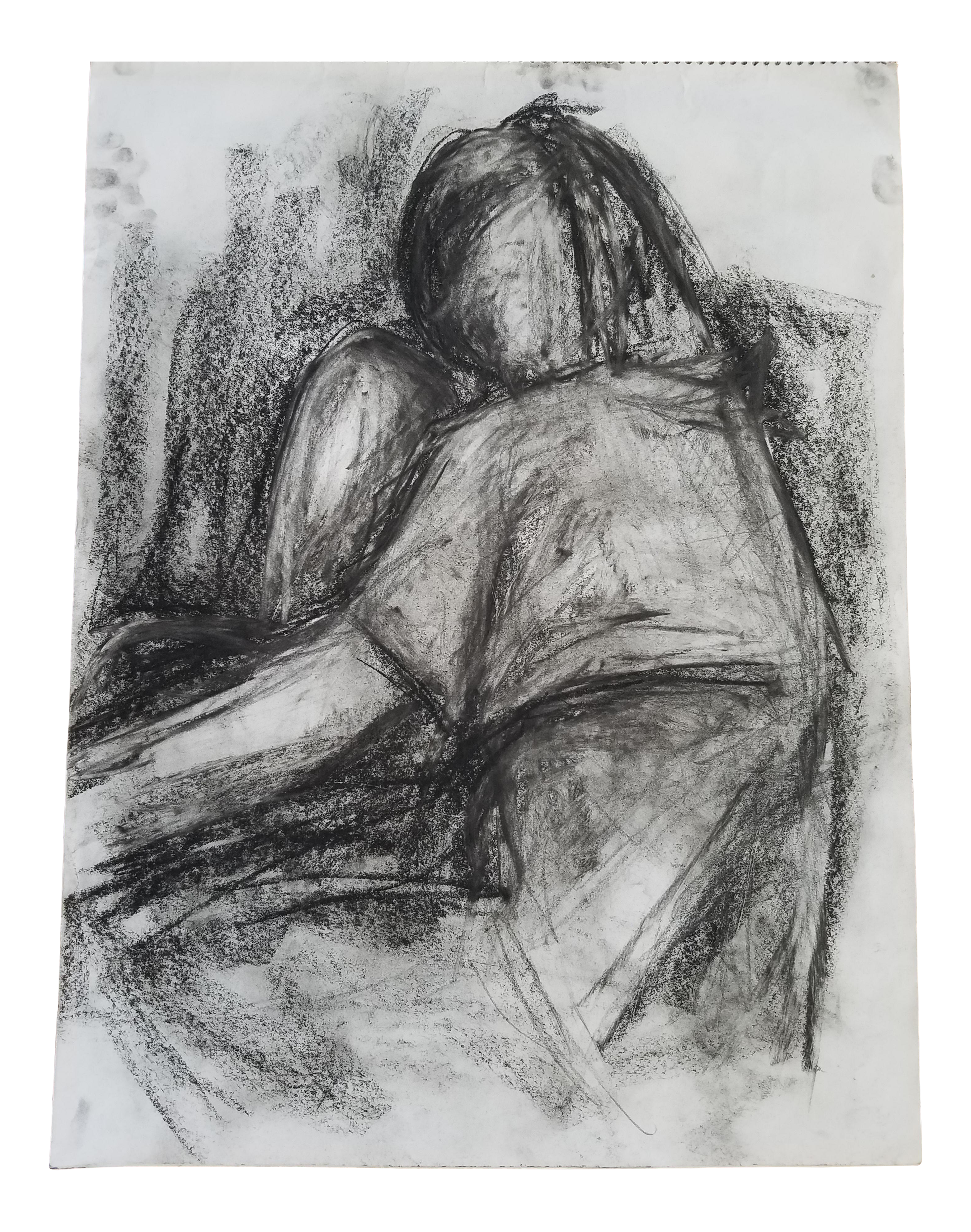 Thoughts drawing charcoal. Figurative on paper chairish