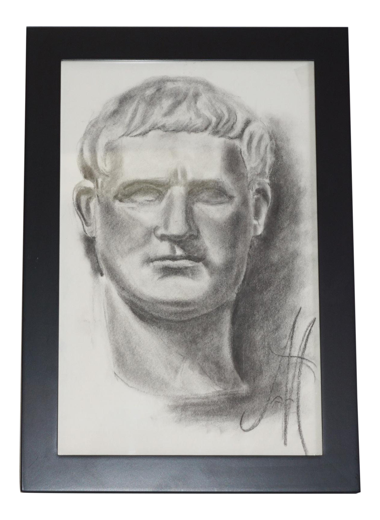 Self drawing charcoal. Vintage bust sketch chairish