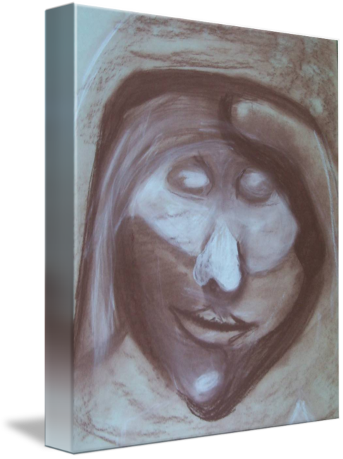 Self drawing face. Red chalk portraitby heather