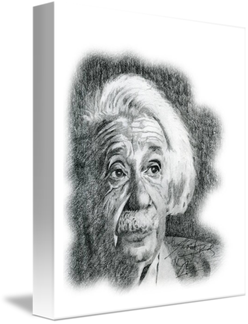 Self drawing hand drawn. Portrait of albert einstein