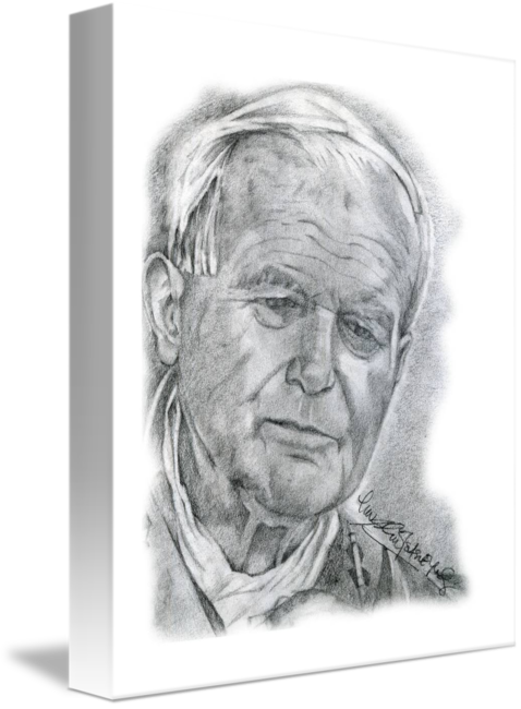 Self drawing hand drawn. Portrait of pope john