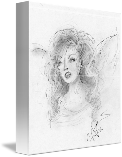 Self drawing hand drawn. Angel original graphite on