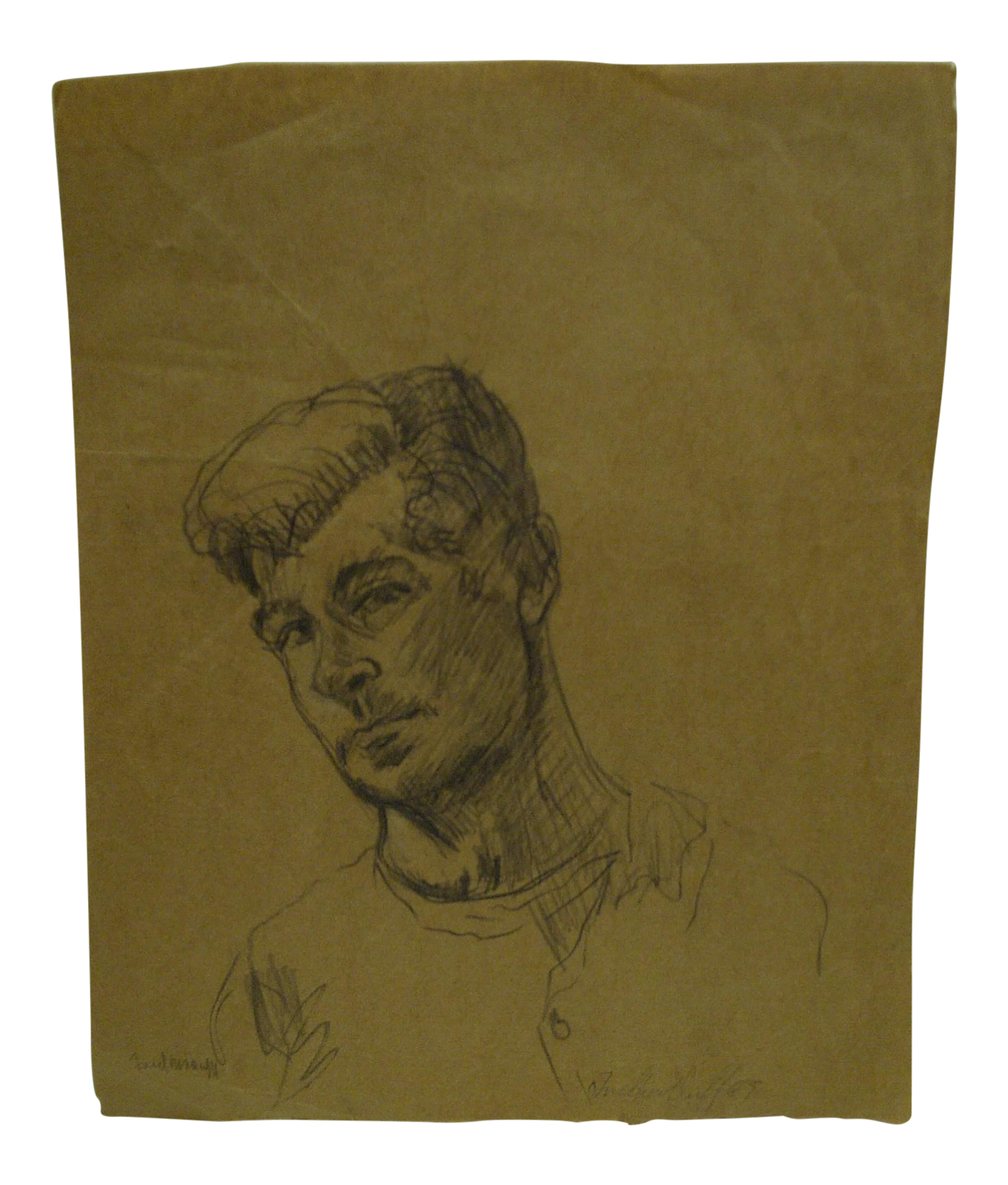 Self drawing sketch. Original portrait signed by