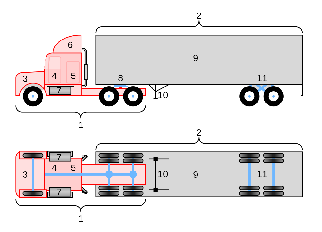 Semi drawing duel truck. File conventional wheeler diagram
