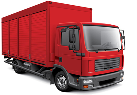 Semi drawing freight truck. Calculation of container or