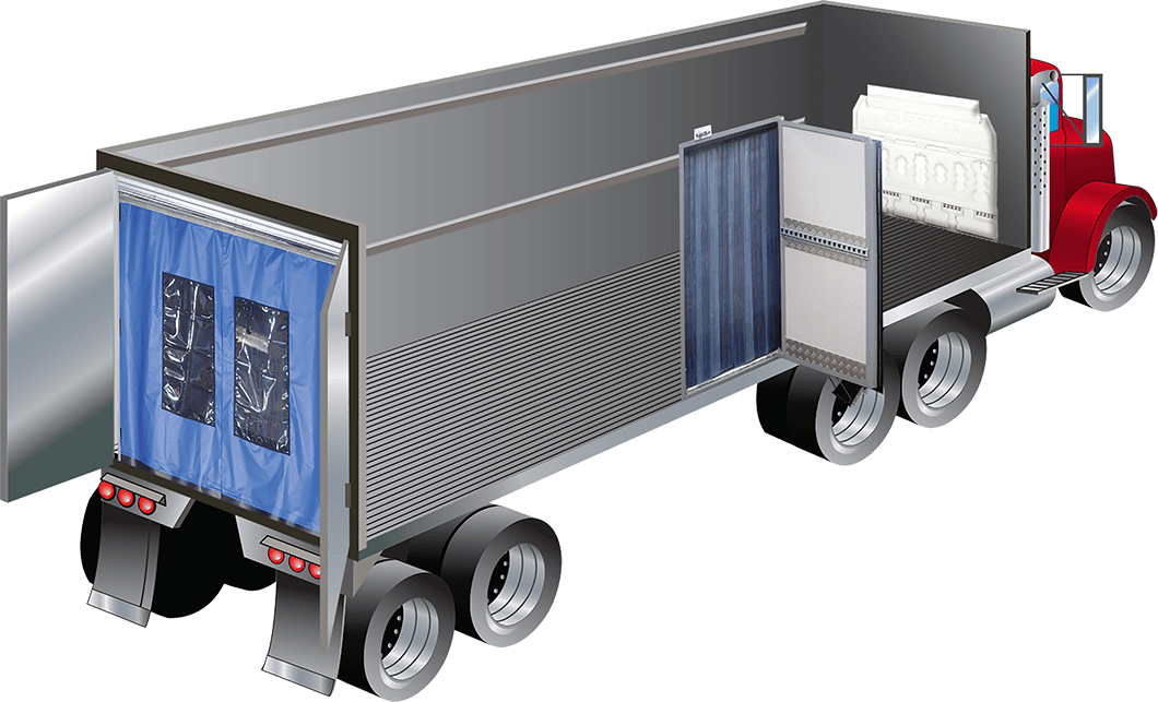 Semi drawing shipping truck. Insulated transport products bulk
