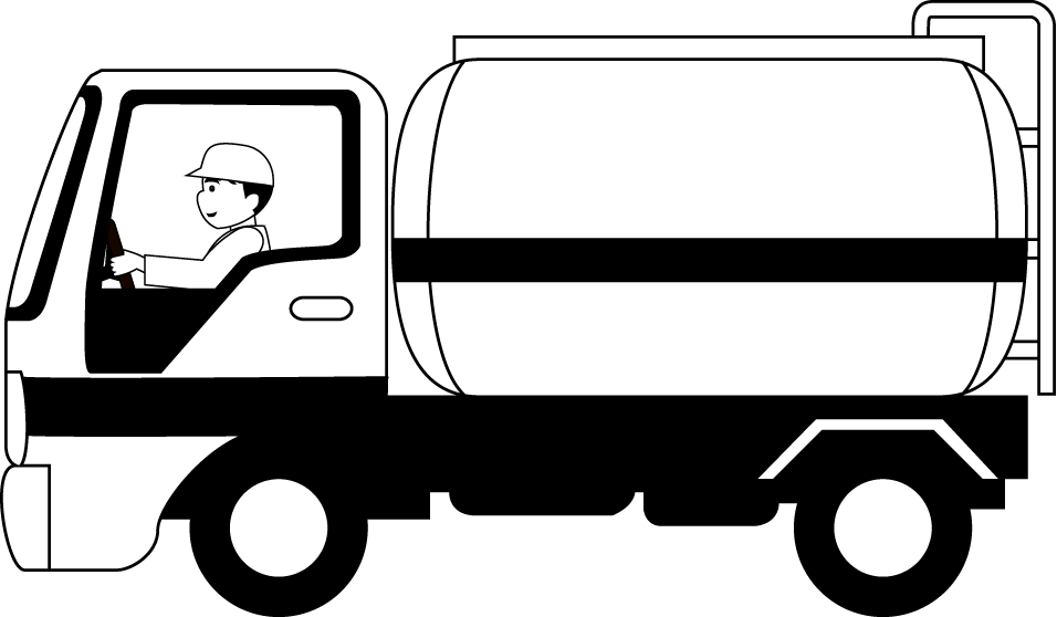 Semi drawing tanker truck. Collection of water