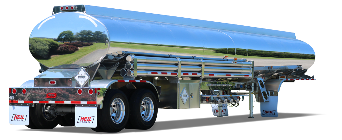 Semi drawing tanker truck. Heil trailer addition by