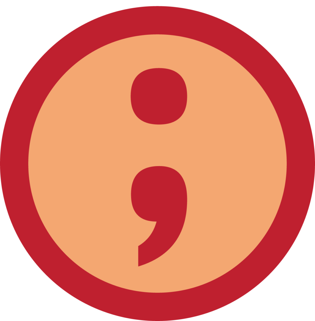 Semicolon drawing meaningful. Text semicolons and colons