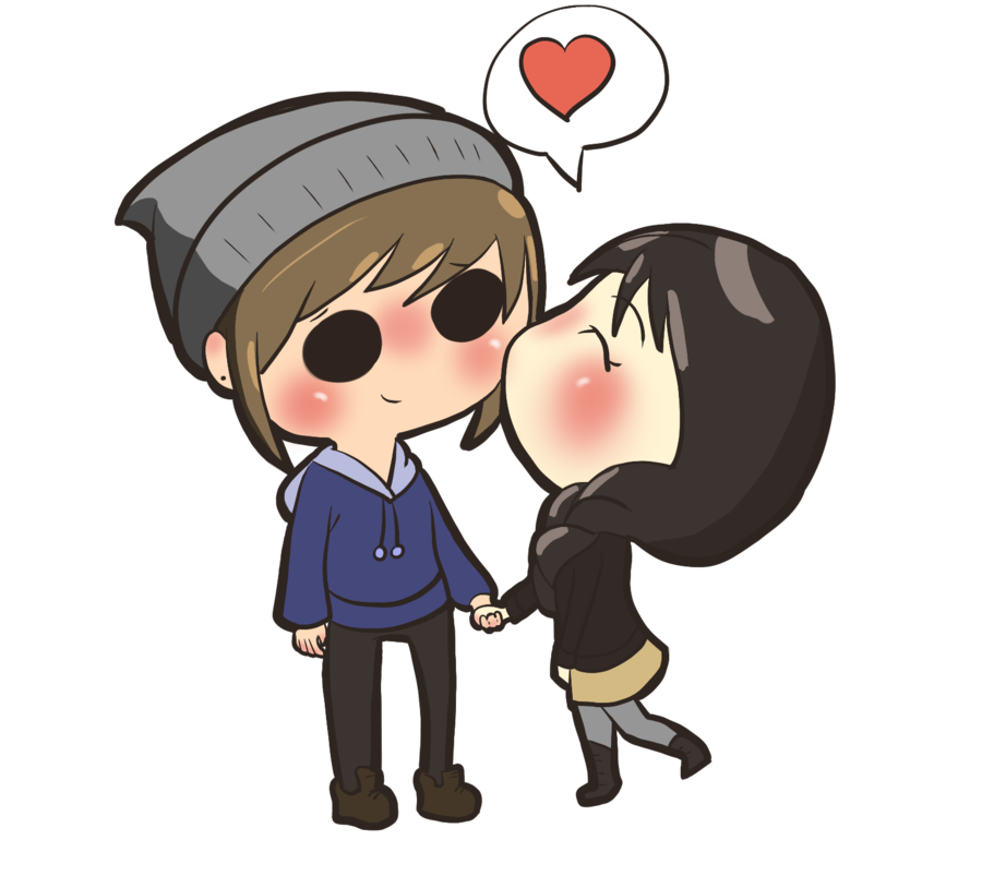 Sensual drawing cute simple couple. A chibi commish by