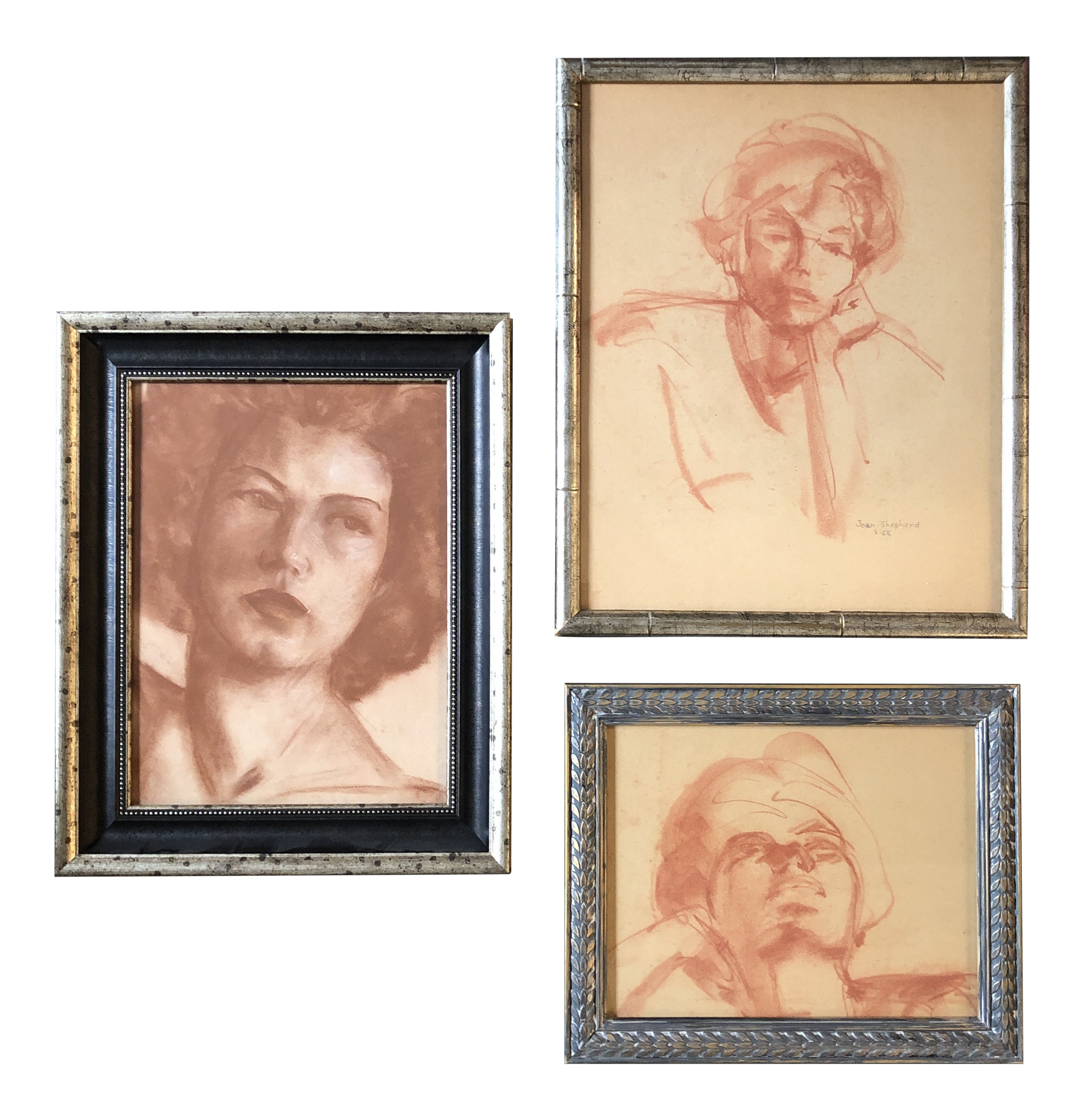 Sepia drawing face. Gallery wall collection original