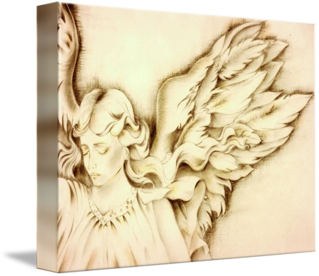 Sepia drawing. Angel by paintingwithstars