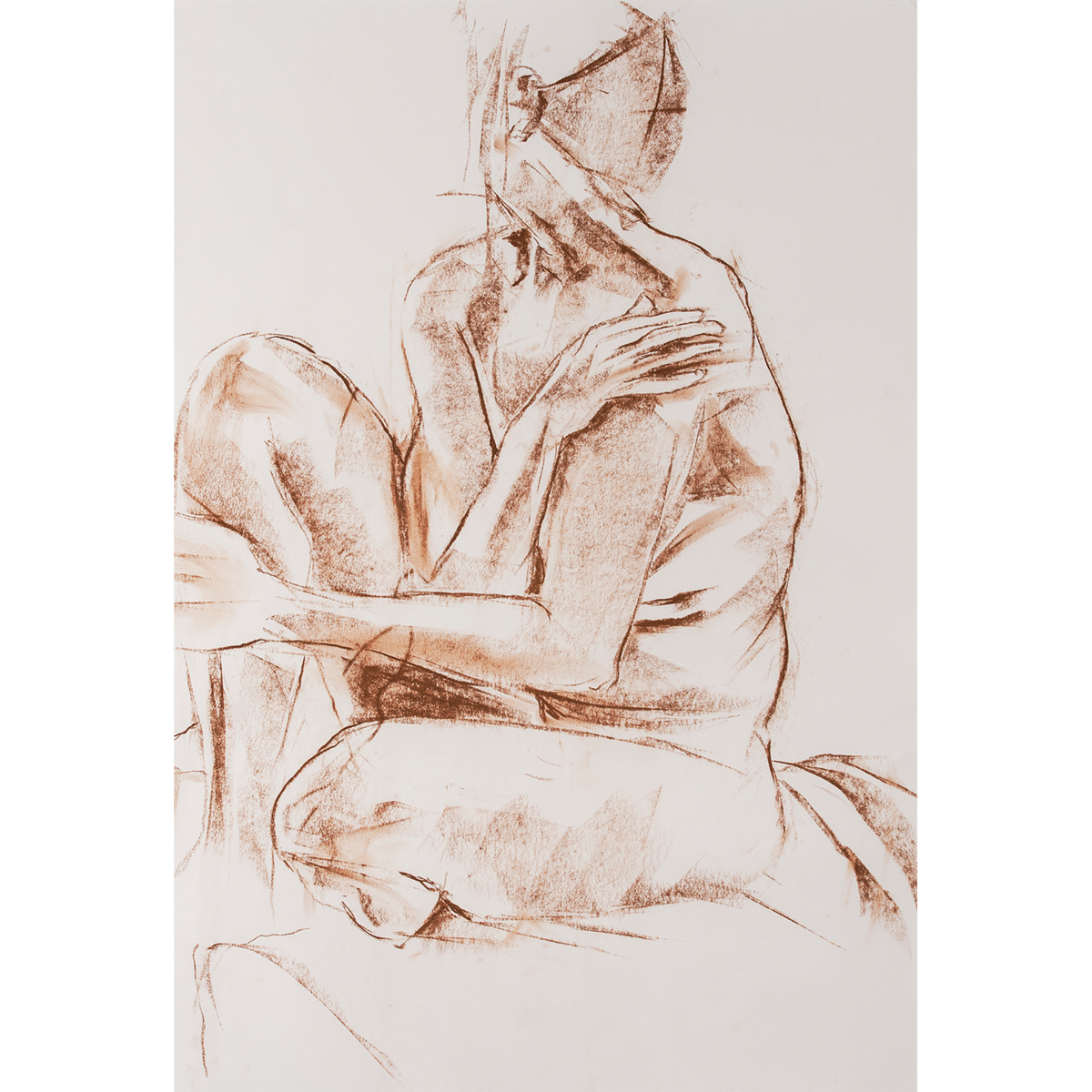 Sepia drawing figure. Sophie in profile terry