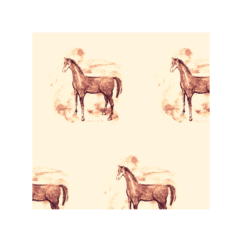 Sepia drawing horse. Fabric pattern colour