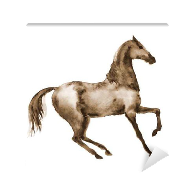 Sepia drawing horse. Watercolor brown in motion