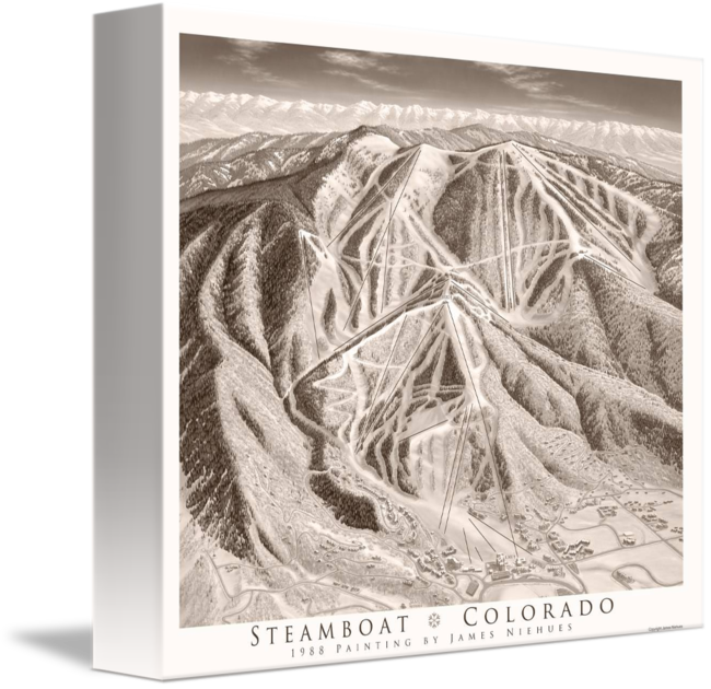 Sepia drawing landscape. Steamboat as print by