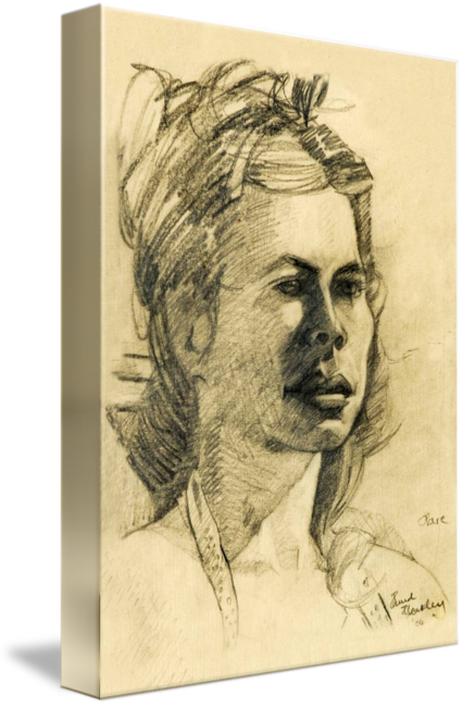 Sepia drawing portrait. Clare by david bleakley