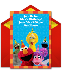 Free Online Punchbowl Party Sesame Street Babies Invitations Backgrounds Png