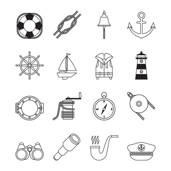 Set of black and white line yachting and sailing icons. Lighthouse anchor cranck