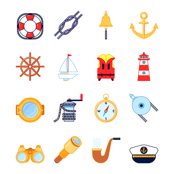 Set of colorful yachting icons. Sailboat and sea