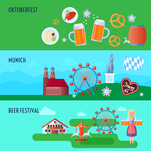 Set of flat horizontal German Oktoberfest beer festival icons ba.