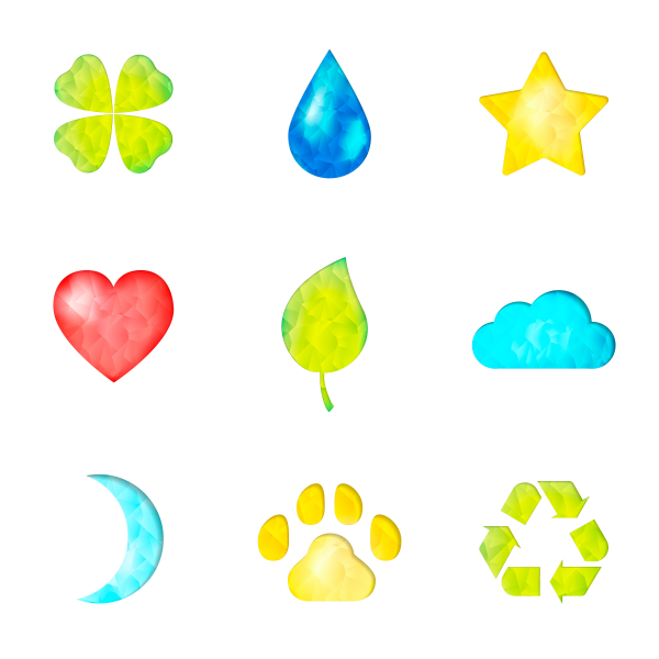 Set of nature symbols icons. Waterdrop star heart