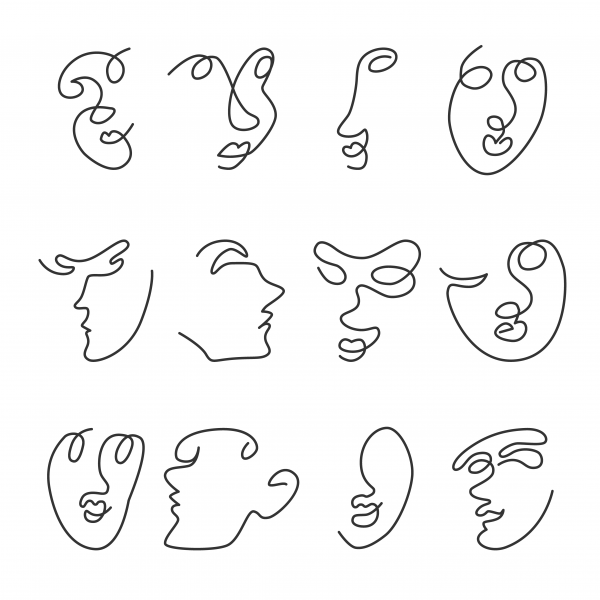 Set of vector illustrations of human faces continous line design.