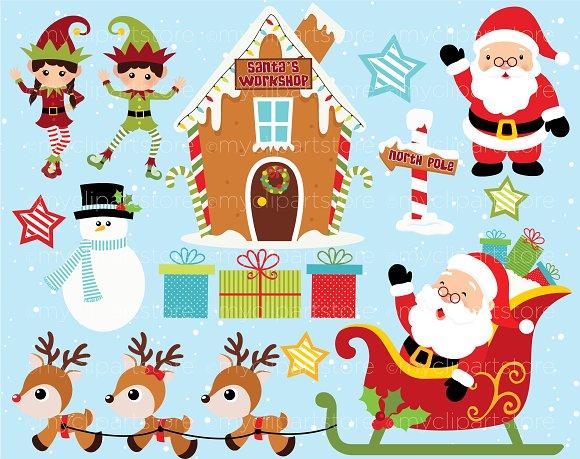 Setting clipart workshop. Christmas santa s illustrations