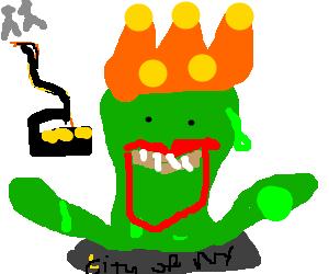 Sewer drawing cartoon. Green slime monster w