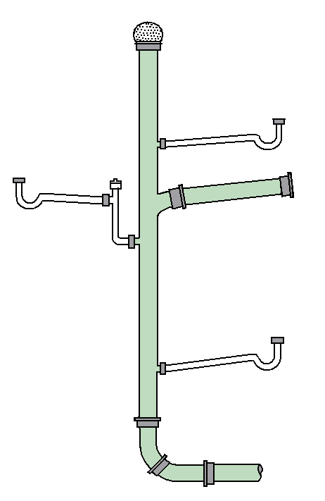 Sewer drawing cyberpunk. Drain waste vent system