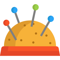 Sewing drawing pin cushion. Needle icon myiconfinder