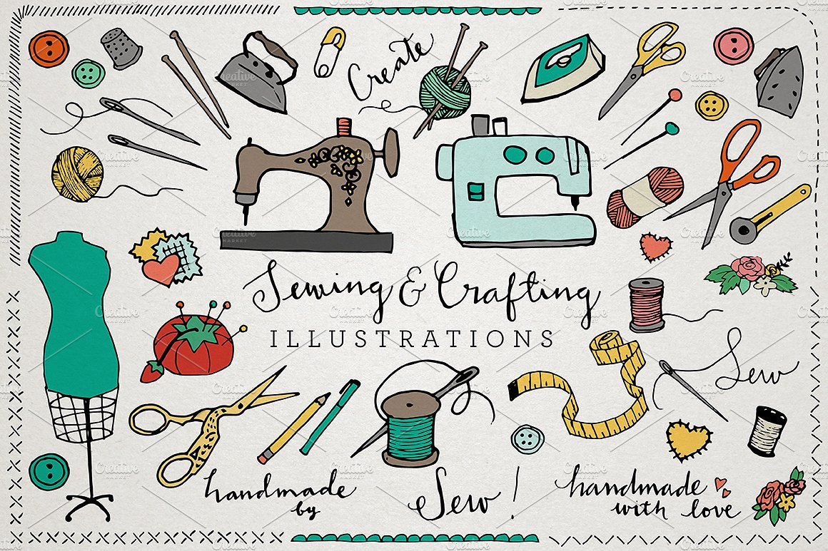 Craft clipart sewing box. Crafting ilustrations pack illustrations