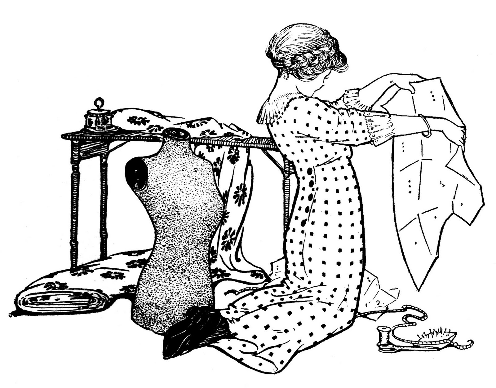 Sewing clipart sewing clothes. Vintage clip art girl