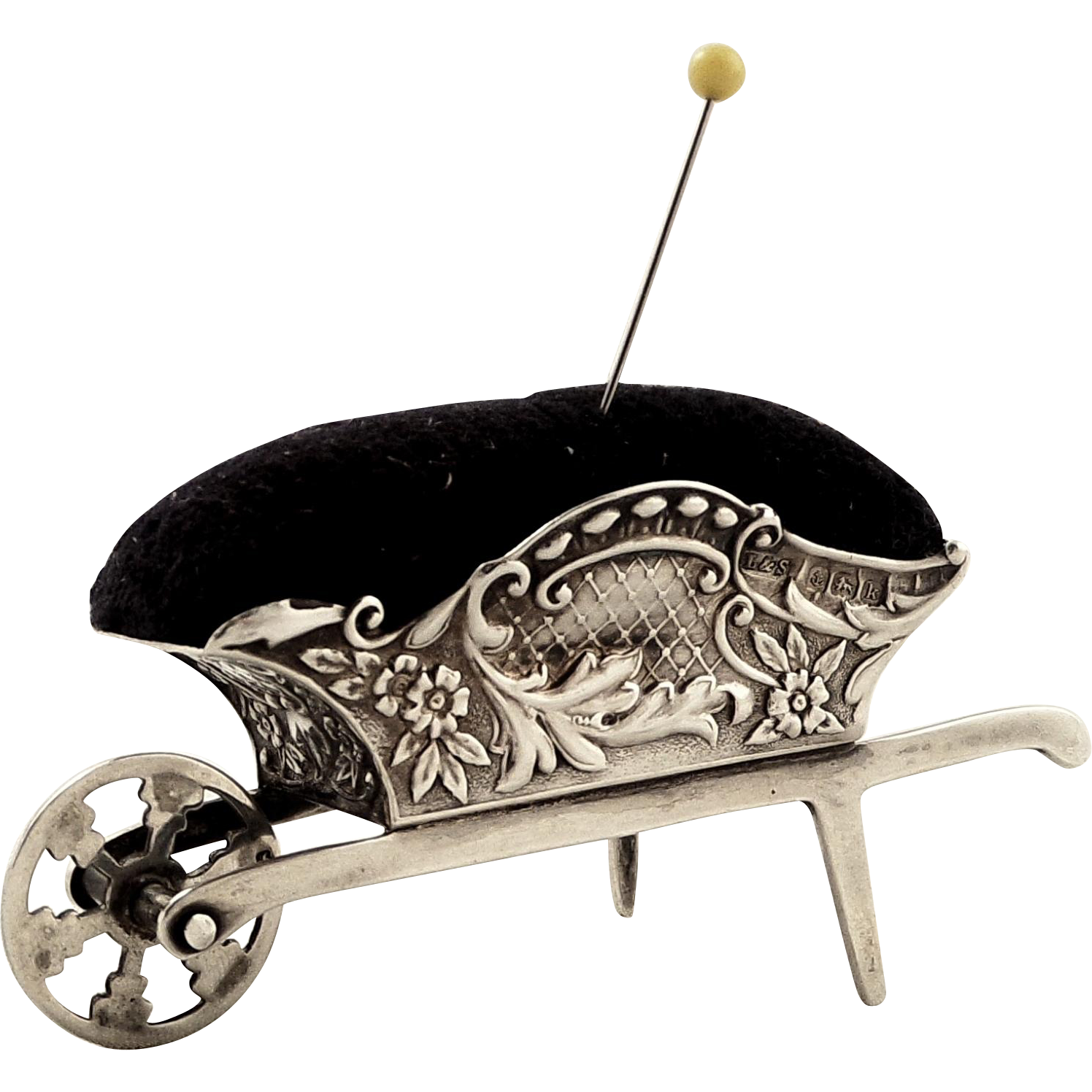 Sewing drawing pin cushion. Antqiue edwardian sterling silver