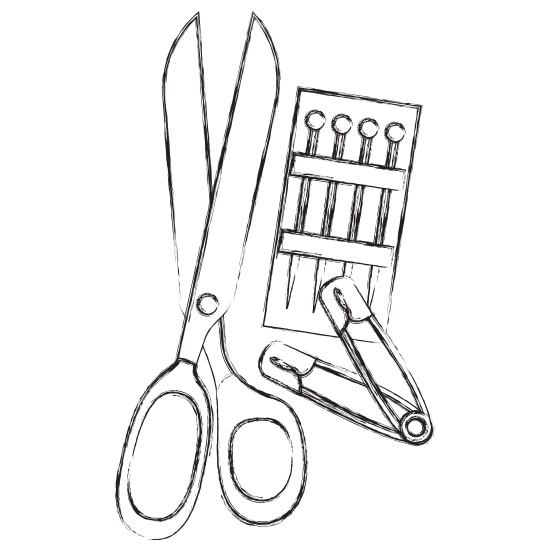 Sewing drawing scissor. Scissors with pins and