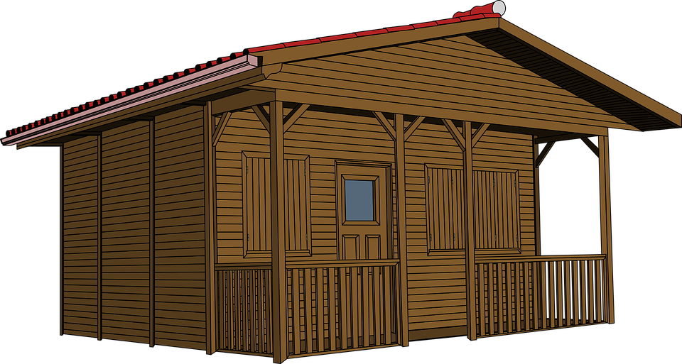 Shack drawing cabin. Log cottage clip art