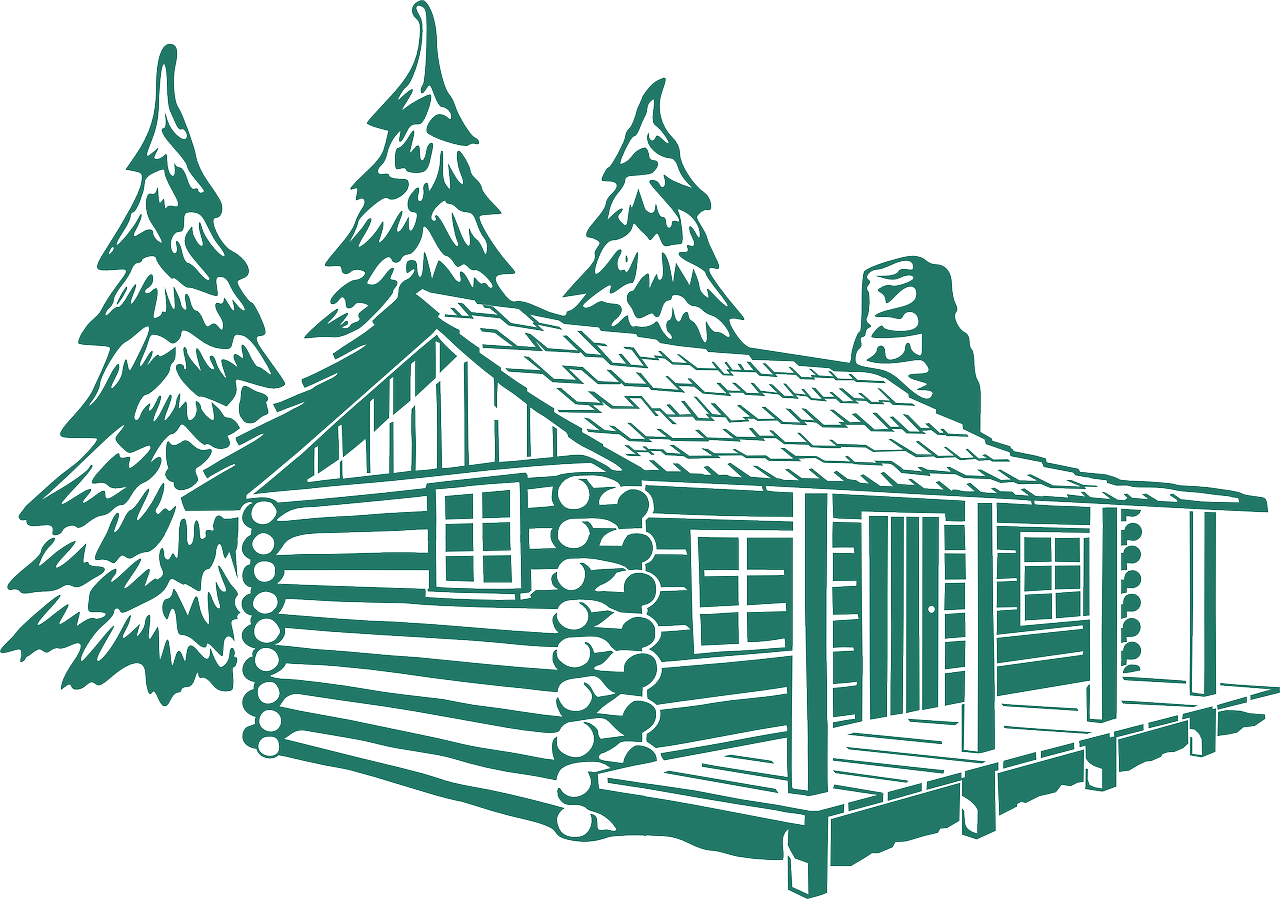 Shack drawing little cabin. Forest wood hut trees