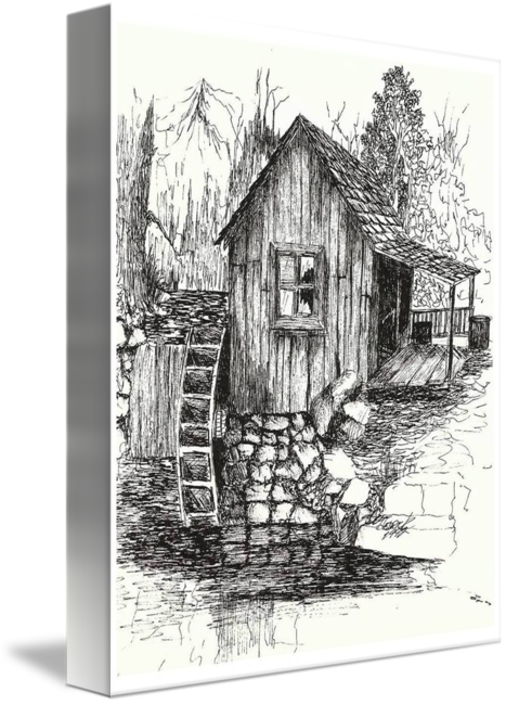 Shack drawing pen ink. Old mill usa by