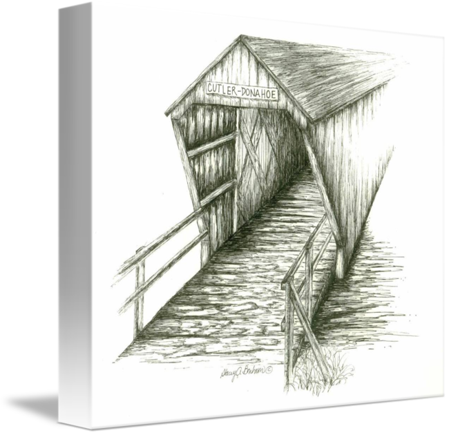 Shack drawing pen ink. Cutler donahoe covered bridge