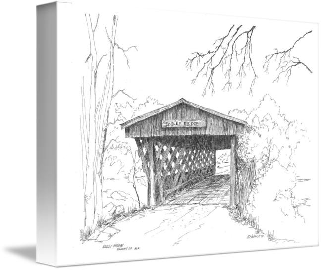 Shack drawing pen ink. Easley bridge by barney