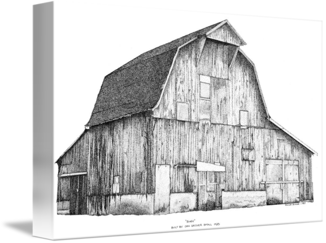 Shack drawing pen ink. And stippled barn by