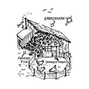 Shack drawing bamboo house. Permaculture courses wild abundance