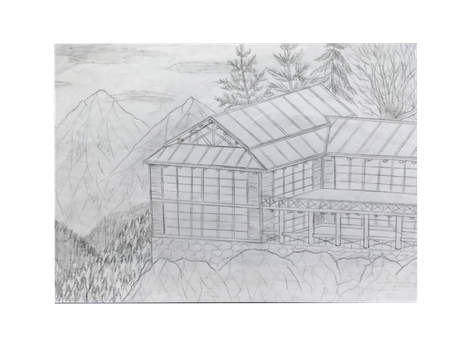 Shack drawing sketch. Lodge drawings by onyxsterling