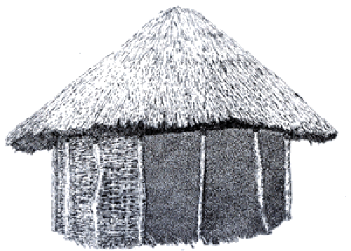 Shack drawing sketch. Of a mud hut