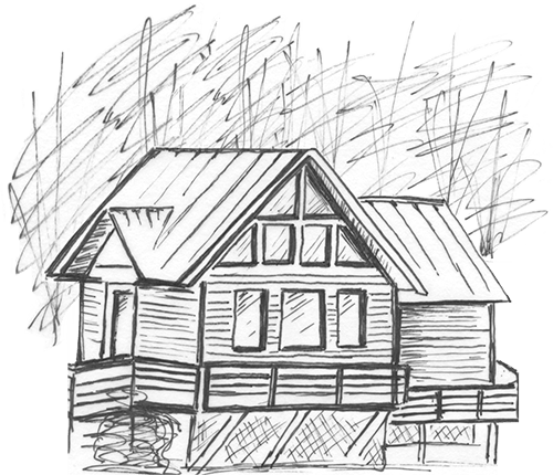 Shack drawing little cabin. The house next door