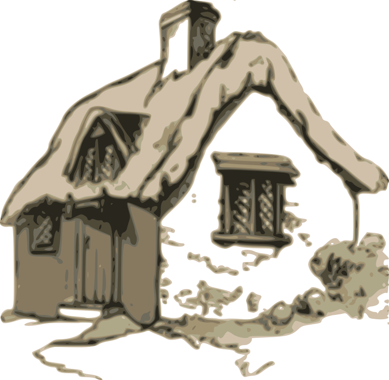 Shack vector straw house. Collection of free cottaged