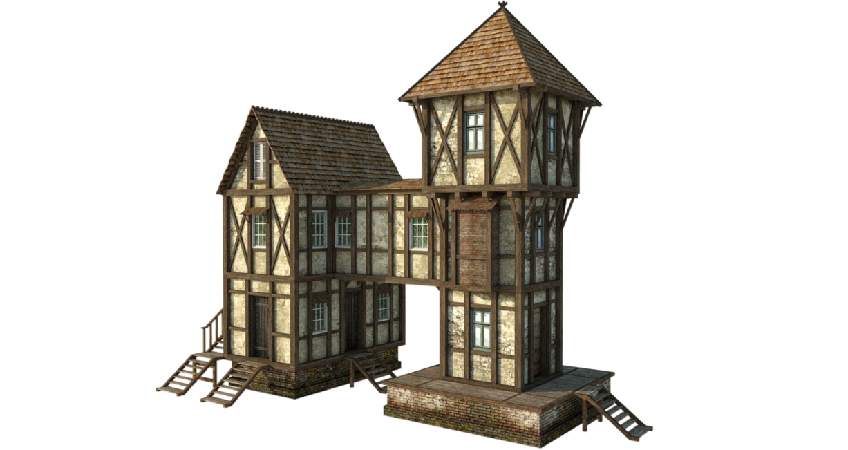 Sketchup drawing village. Medieval house by fumar
